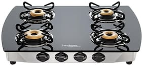 Hindware 4 Burners Stainless Steel Gas Stove - Black , Auto Ignition