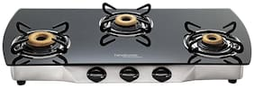 Hindware 3 Burners Stainless Steel Gas Stove - Black , Auto Ignition