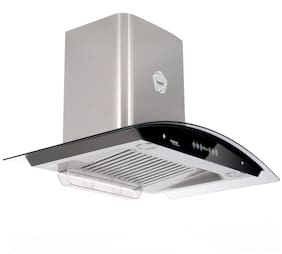 Hindware Wall Mounted Auto Clean 90 cm 1200 m3/h Silver Chimney ( Cleo-90 )
