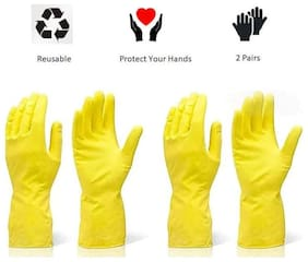 HM Evotek Cleaning Rubber Gloves Reusable Washing Cleaning Kitchen Garden 2 Pair