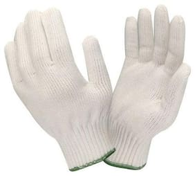 Hm Evotek Kitchen Cotton Knitted Safety Hand Gloves White 1 Pair