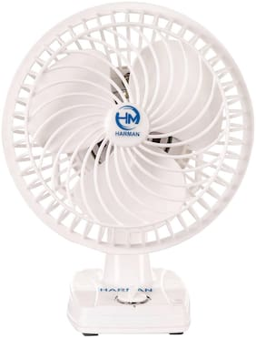 HM Wall Cum Table Fan With Powerful High 3 Speed Motor (White)