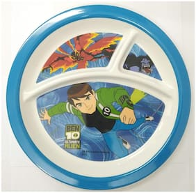 HMI Cartoon Character 3 Section Round Melamine Plate for Kids (Ben 10 Alien Force;4 Ounce)