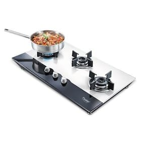 Prestige 40557 3 Burners MS Powder Coated With Glass Top Hob Top Gas Stove - Assorted , Auto Ignition