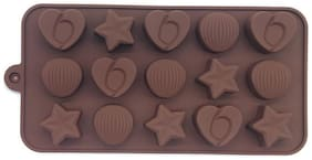 Hojo Silicone Chocolate Mould Ice Mould Chocolate Decorating Mould (Star Heart Round Shape)