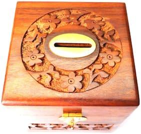 Holy Ratna Carving Handmade Wooden Money Bank/Piggy Bank/Coin Box Size 4 inch