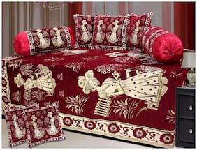 HOMA DORN Heavy Chenille Diwan Set ( Single Bedsheet + 5 Cushion Covers + 2 Bolster Covers)