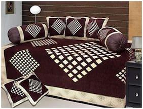 HOMA DORN Chenille Geometric Single Size Diwan Sets - Pack of 8