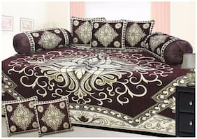 HOMA DORN Chenille Floral Single Size Diwan Sets - Pack of 8