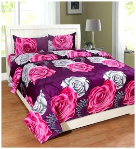 HOMA DORN Cotton 3D Printed Double Size Bedsheet 150 TC ( 1 Bedsheet With 2 Pillow Covers , Purple )