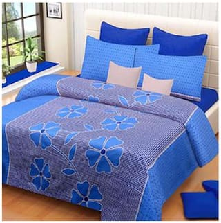 HOMA DORN Cotton 3D Printed Double Size Bedsheet 104 TC ( 1 Bedsheet With 2 Pillow Covers , Blue )