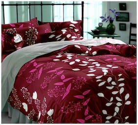 HOMA DORN Cotton 3D Printed Double Size Bedsheet 150 TC ( 1 Bedsheet With 2 Pillow Covers , Maroon )