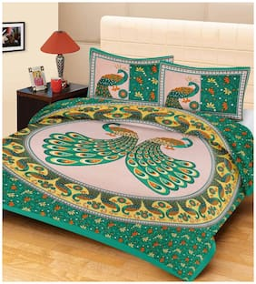 HOMA DORN Cotton Rajasthani Jaipuri Print Queen Size Bedsheet 250 TC ( 1 Bedsheet With 2 Pillow Covers , Multi )