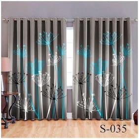 HOMA DORN Polyester Window Room Darkening Multi Regular Curtain ( Eyelet Closure , Floral )