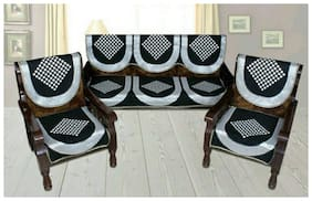 HOMADORN TM Chenille Cotton Black 5 Seater Sofa Cover Set ( 6 Pieces)