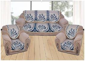 HOMADORN TM Chenille Cotton Blue 5 Seater Sofa Cover Set ( 6 Pieces)