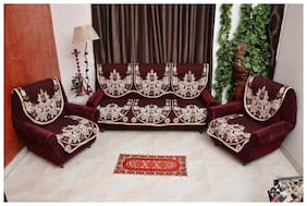 HOMADORN TM Chenille Cotton Maroon 5 Seater Sofa Cover Set ( 6 Pieces)