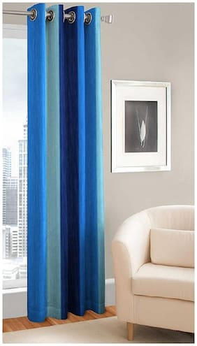 HOME ACCENTS EYELET  POLYSTER MULTICOLOUR DOOR CURTAIN BLUE SET OF 1(4*7 ft)