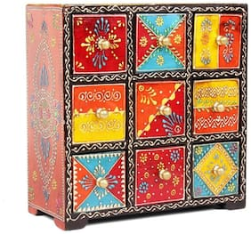 Home and Bazaar Traditional Look With This Handpainted 9 Drawer Chest.
