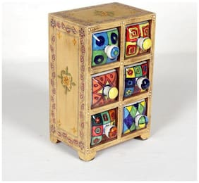 Home and Bazaar 6-Drawer wooden Chest with Ceramic Drawers