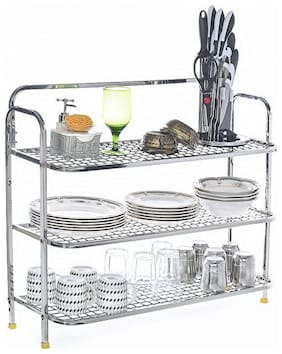 Home Creations 60.96 cm (24 inch) wall mount Multi Purpose Kitchen Dish Rack / Kitchen Utensils Rack / Modern Kitchen Storage Rack