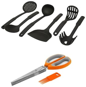 Home creations Nylon Kitchen Tool 6 pcs & 5 Blade Vegetable Herb cutting Scissor With Cleaning Brush Orange