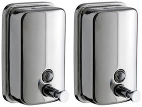 Home Decor Silver Stainless Steel Liquid Soap Dispenser - 500ml -Set of 2