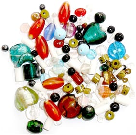 Gifts n Decor Multicolor Glass Beads Pebbles for Jewelry Making Fish Aquarium Vase Fillers Home and Garden Decoration Pack of 100 Grams