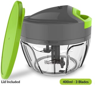 Home Puff 3 Blades Vegetable Chopper, Cutter With Storage Lid (400ml)