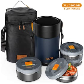 Home Puff 4 Container Stainless Steel Lunch Box Set of 1 ( Blue ,  325 ml  , 425 ml  , 600 ml )