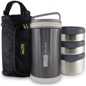 Home Puff Double Wall Vacuum Insulated - Stainless Steel Lunch Box With 3 Leak Proof;1700 Ml - Grey