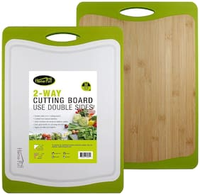 Home Puff H18 Revolve Cutting Board, 2-in-1 Double-Sided Antibacterial Bamboo & 100% BPA Free Plastic   Non-Slip Ergonomic Design, Juice Groove, FDA Approved (M)