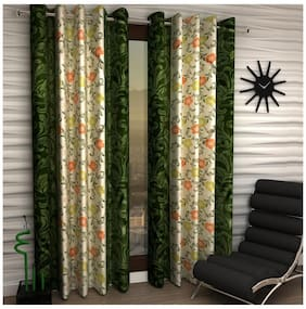 Home Sizzler Green Color Polyester Curtain (5 Ft) - Pack Of 1