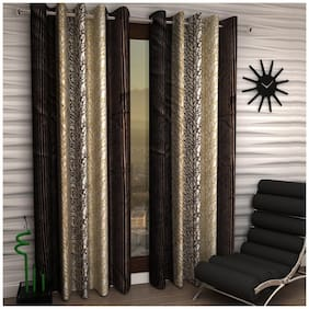 Home Sizzler Brown Polyester Curtain (5 Ft) - Pack Of 2