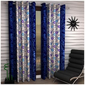 Home Sizzler Navy Blue Color Polyester Curtain (5 ft) - Pack Of 1