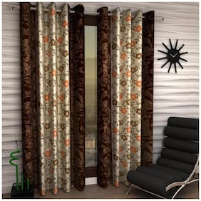 Home Sizzler Brown Color Polyester Curtain (5 ft) - Pack Of 1