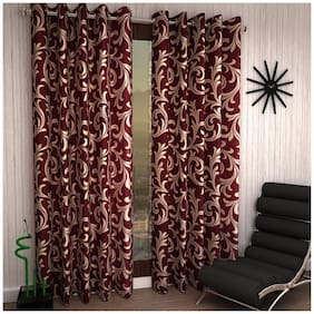 Home Sizzler Maroon Polyester Curtain (5 Ft) - Pack Of 1