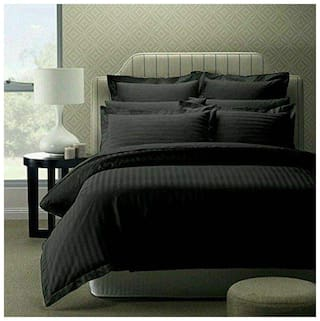 home solution Cotton Striped King Size Bedsheet 300 TC ( 1 Bedsheet With 2 Pillow Covers , Black )