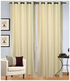 Home Solution Plain Long crush 7 ft Door Eyelet Curtains(Set Of 2)
