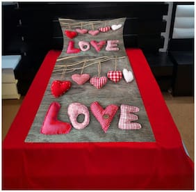 home solution Velvet Printed Single Size Bedsheet ( 1 Bedsheet With 1 Pillow Covers , Multi )
