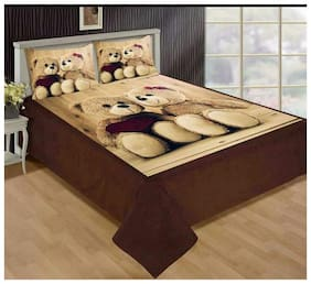 Home Solution king size Velvet double bed bedsheet with 2 pillow covers