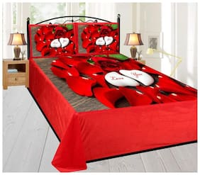 home solution Velvet Floral Double Size Bedsheet 190 TC ( 1 Bedsheet With 2 Pillow Covers , Multi )