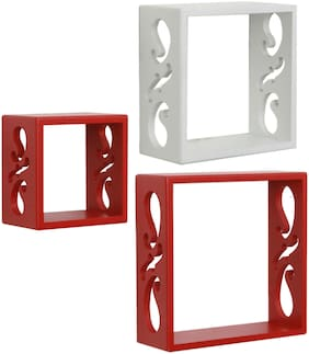 Home Sparkle 3 Cube Shelves (Red And White)