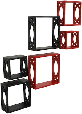 Home Sparkle cube Wall Shelves Set of 6 (Black And Red)