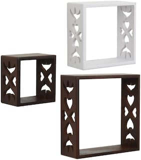 Home Sparkle Set of 3 cube Wall Shelves (Brown And White)