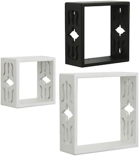 Home Sparkle Set of 3 cube Wall Shelves (White And Black)