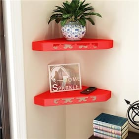 Home Sparkle Set of 2 Corner Wall Shelves