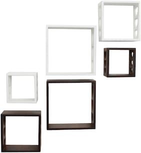 Home Sparkle Cube Wall Shelves -Set Of 6