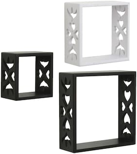 Home Sparkle Set of 3 cube Wall Shelves (Black And White)
