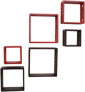 Home Sparkle 6 Cube Shelves (Brown And Red)